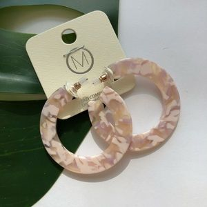 Frosted Pink Acrylic Hoop Earrings NWT